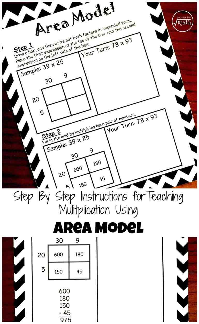 how to teach multiplication using area model free printable. Black Bedroom Furniture Sets. Home Design Ideas