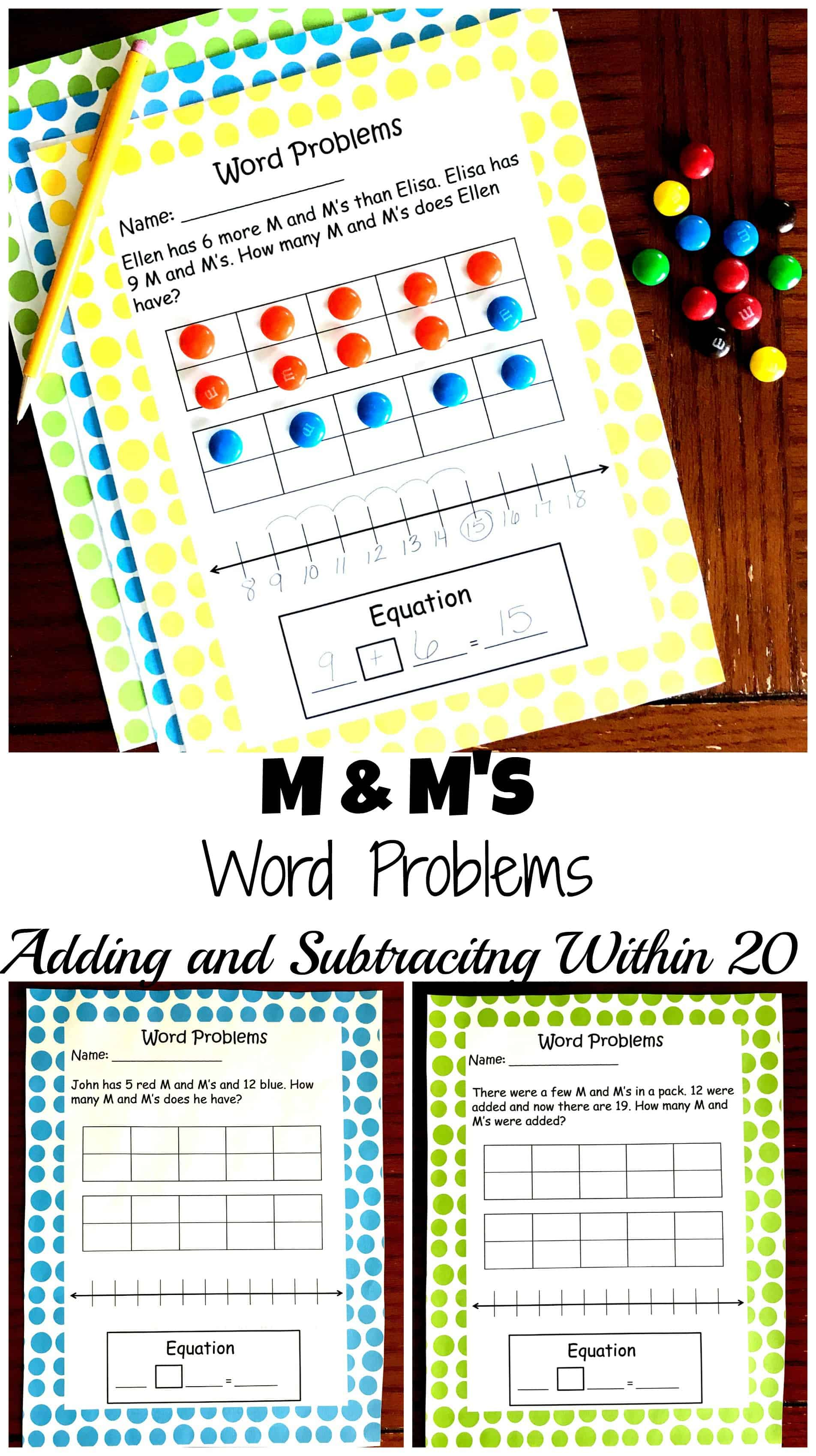 5 Free M \u0026 M Word Problems to Practice Adding and Subtracting Within 20 [ 3400 x 1904 Pixel ]