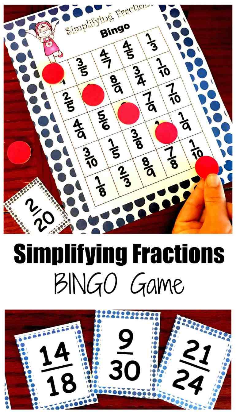 free simplifying fractions bingo game