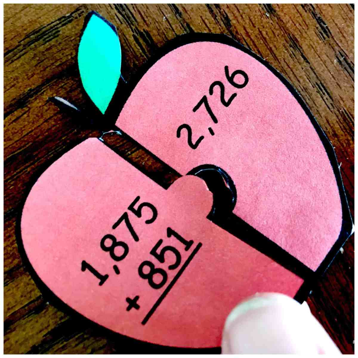 Free Triple and Double Digit Addition Puzzles - With An Apple Theme