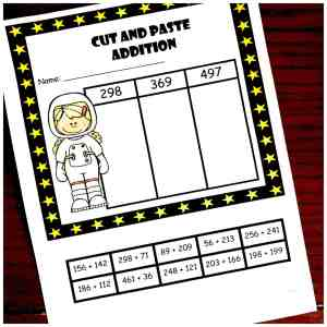 cut and paste three digit addition