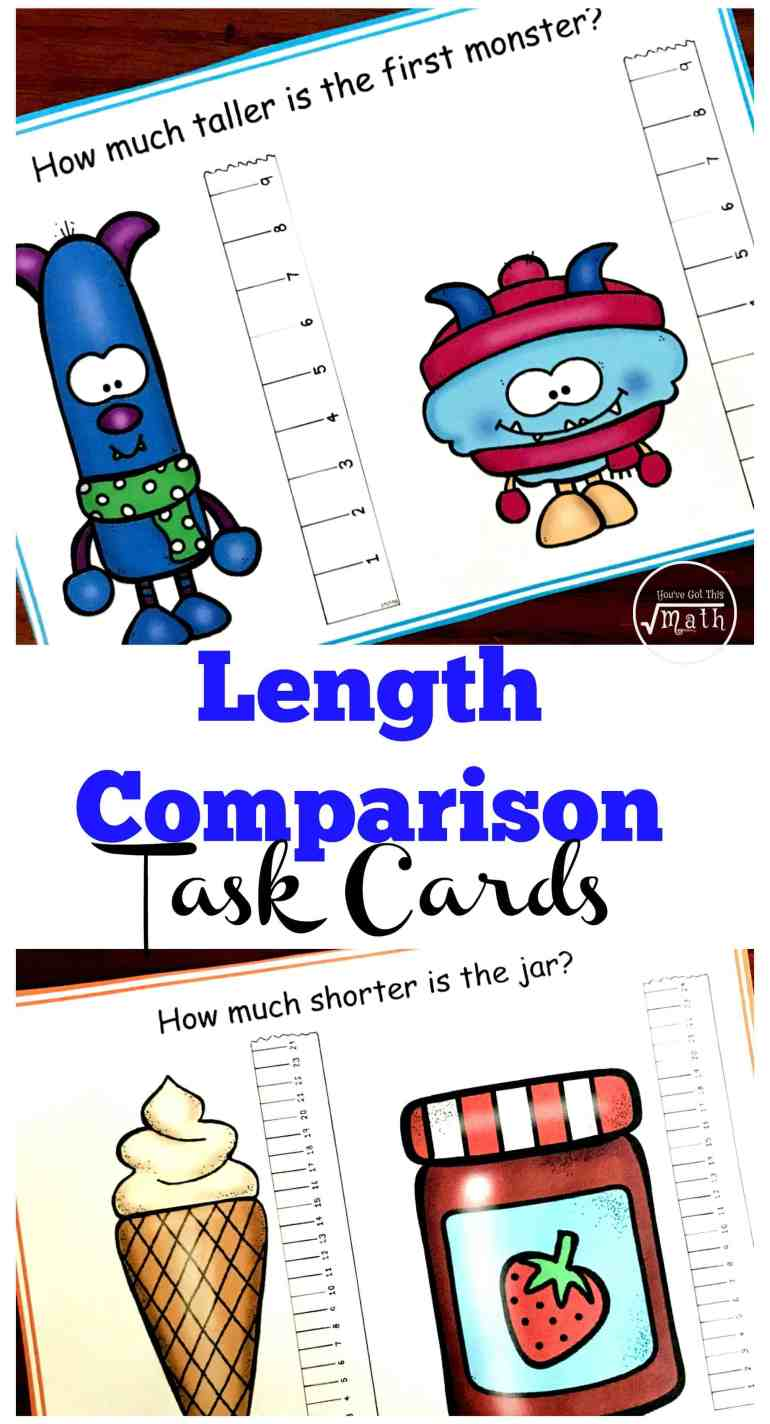 """These 15 task cards focus on length comparison. Students measure two objects and then answer questions. One example may be, """"How much longer is the car?"""" Or, """"How much shorter is the doll?"""""""