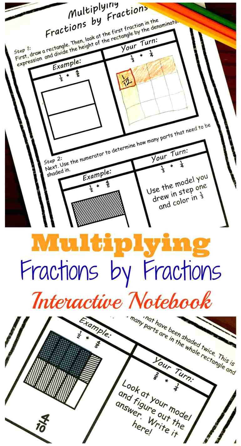 This interactive notebook will walk you and your children through how to Multiplying Fractions with Models. A free printable is included!