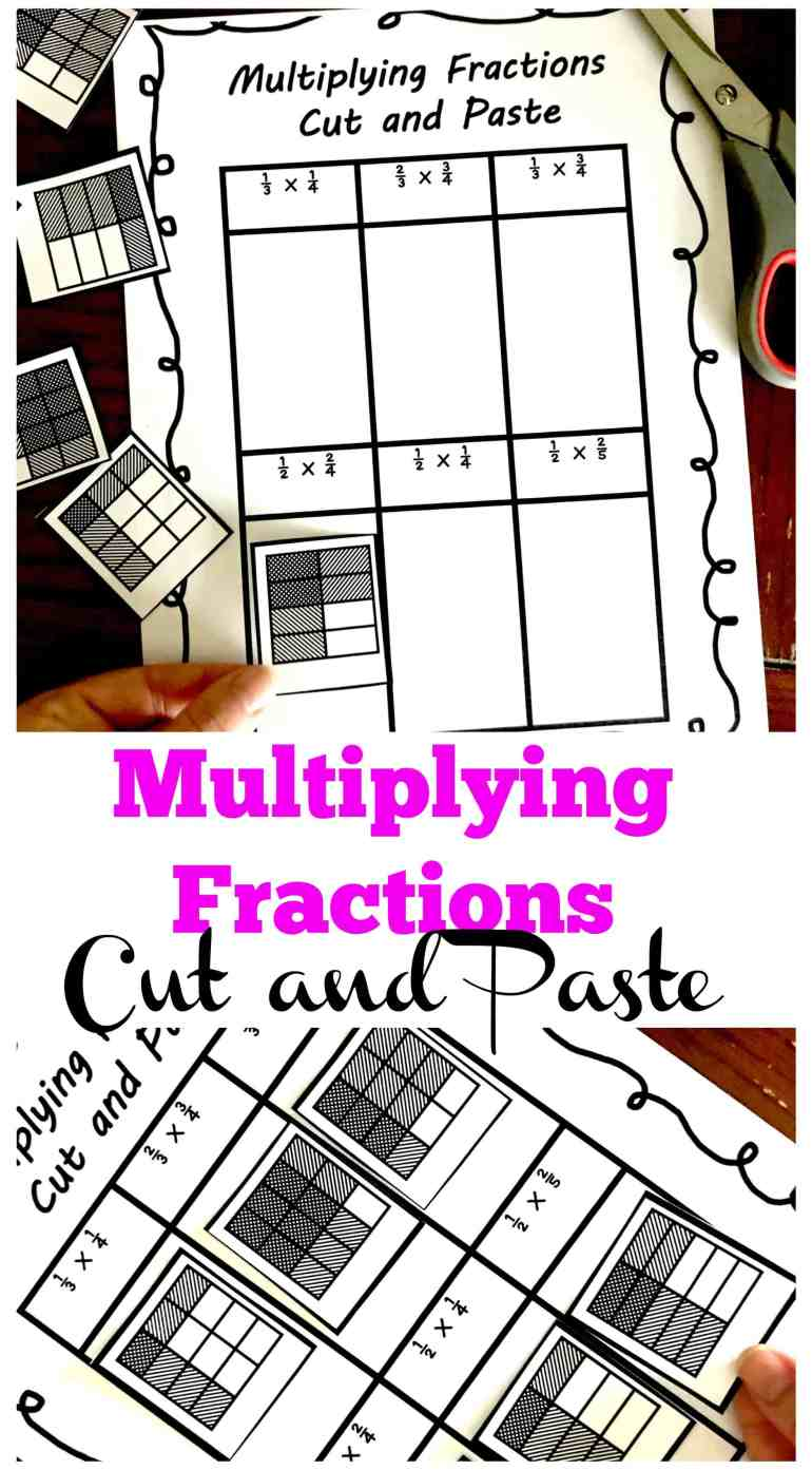 3 Cut and Paste Worksheets For Multiplying Fractions Practice