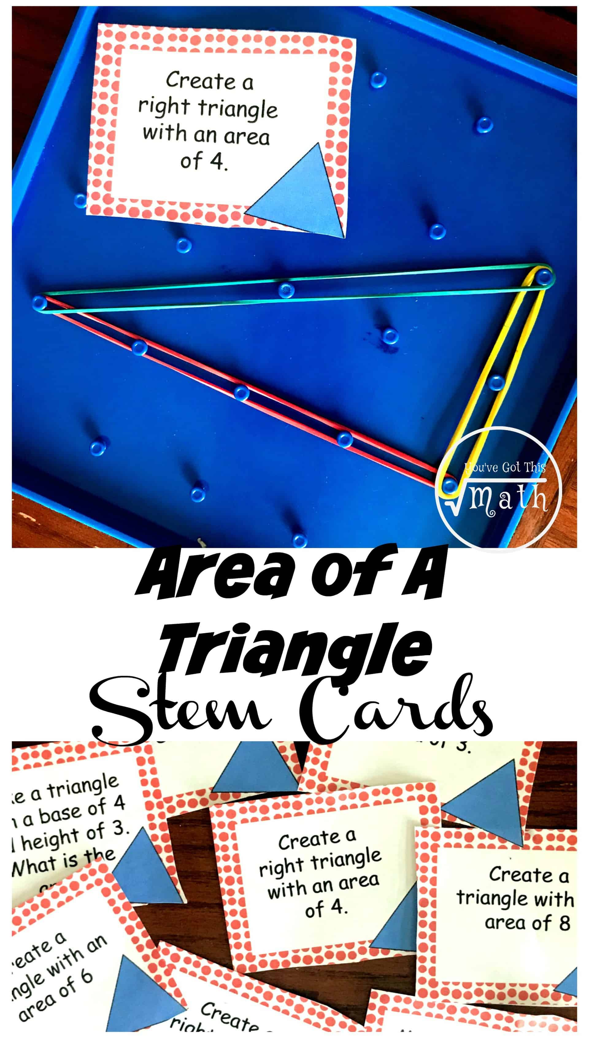 Need some Area of Triangles Practice? These fun STEM cards are a great way for children to practice finding the area of triangles as well as creating triangles with a given area.