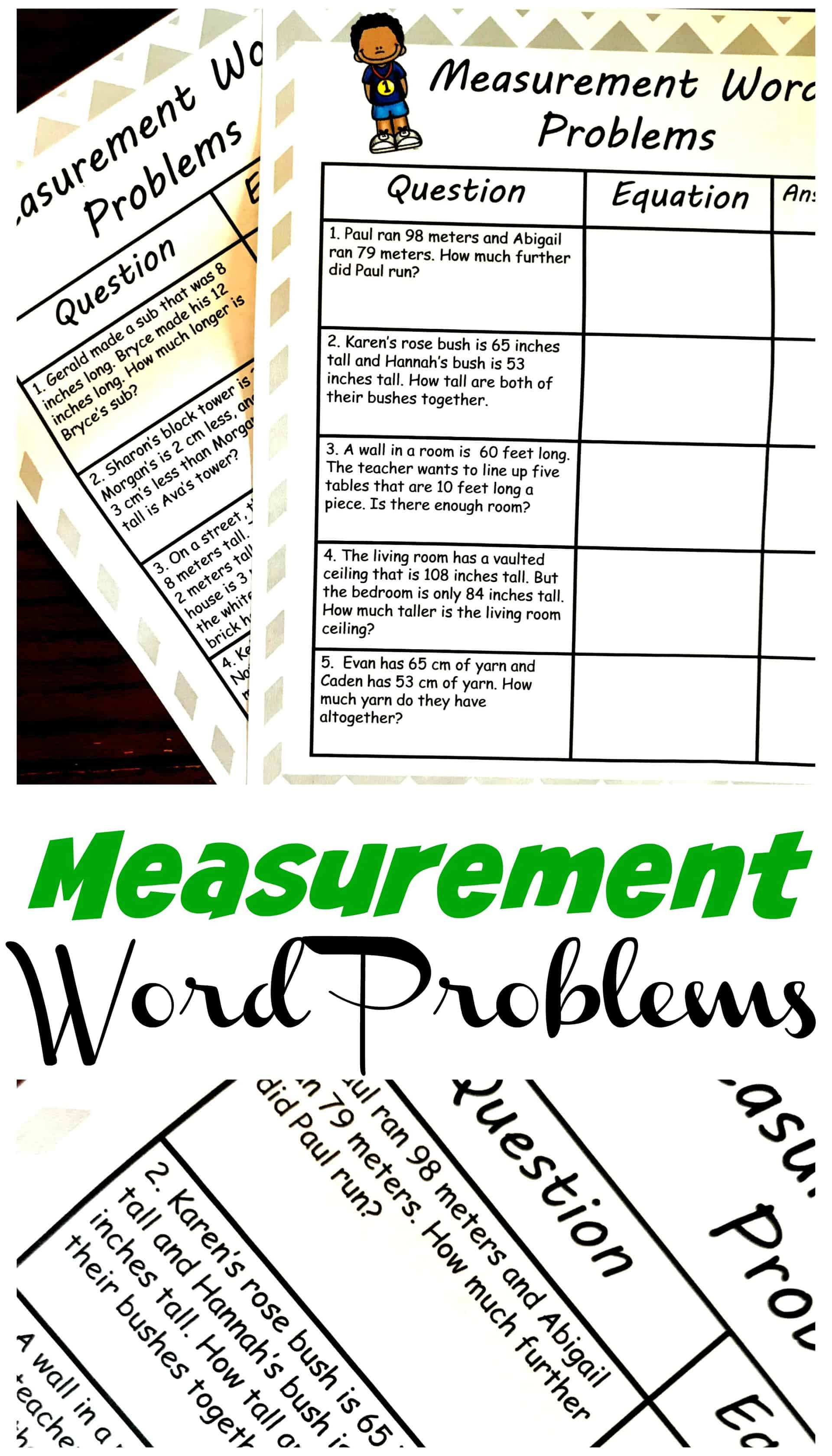 Two Simple Measurement Word Problems Worksheets [ 3400 x 1943 Pixel ]