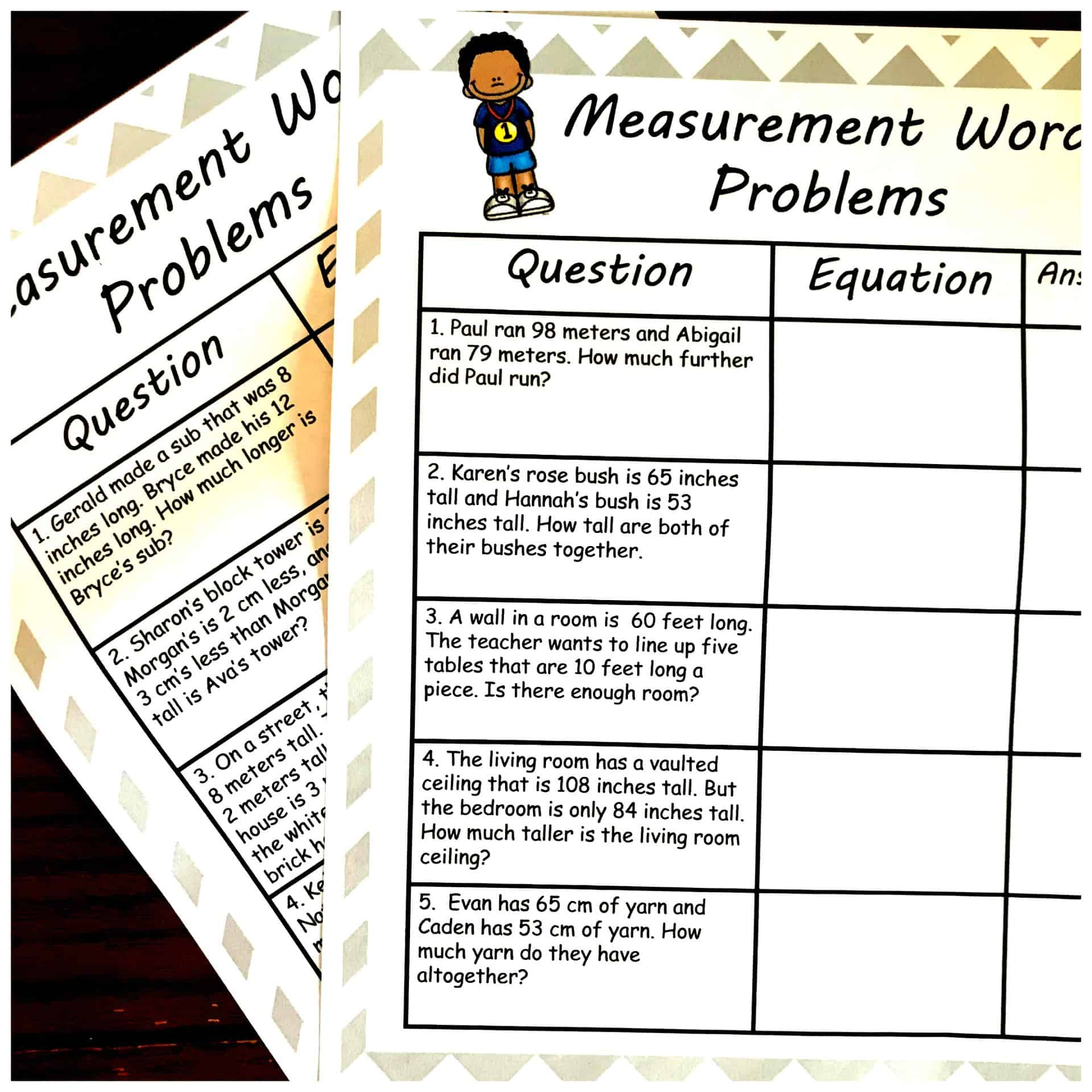 Two Simple Measurement Word Problems Worksheets