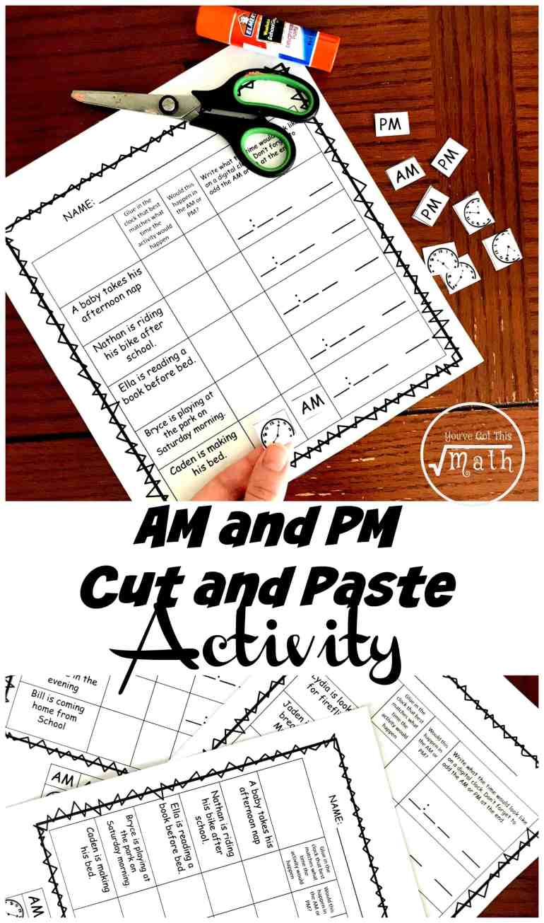 3 cut and paste am and pm worksheets fun sorting activity. Black Bedroom Furniture Sets. Home Design Ideas