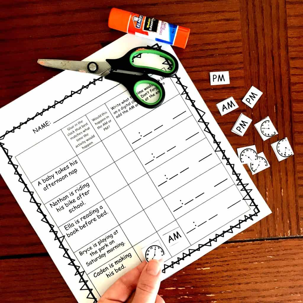 3 Cut And Paste Am And Pm Worksheets