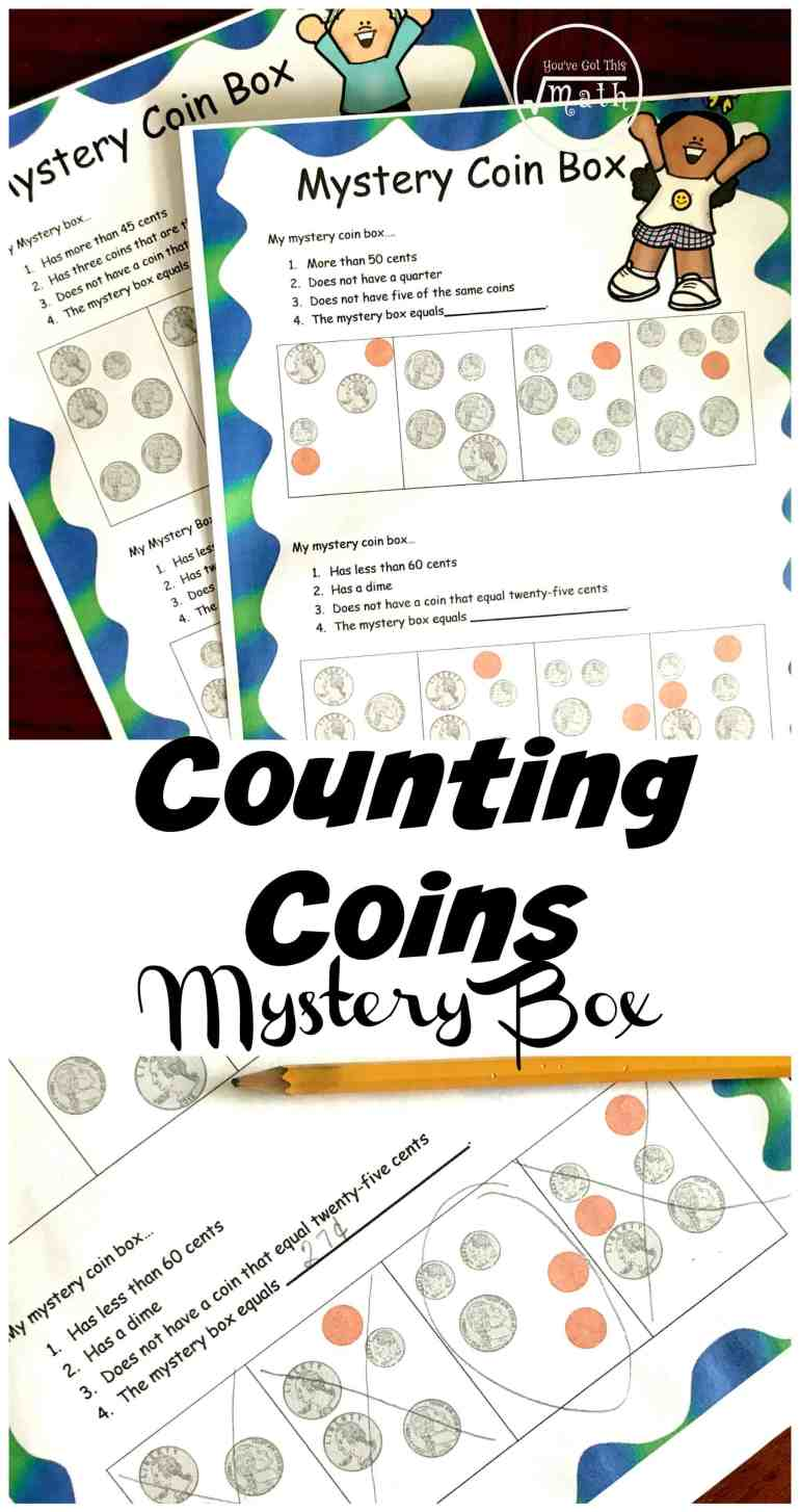 These counting coin worksheets have a fun twist. Children have to use clues to figure out which box is the mystery box. These clues include coin recognition and counting money.