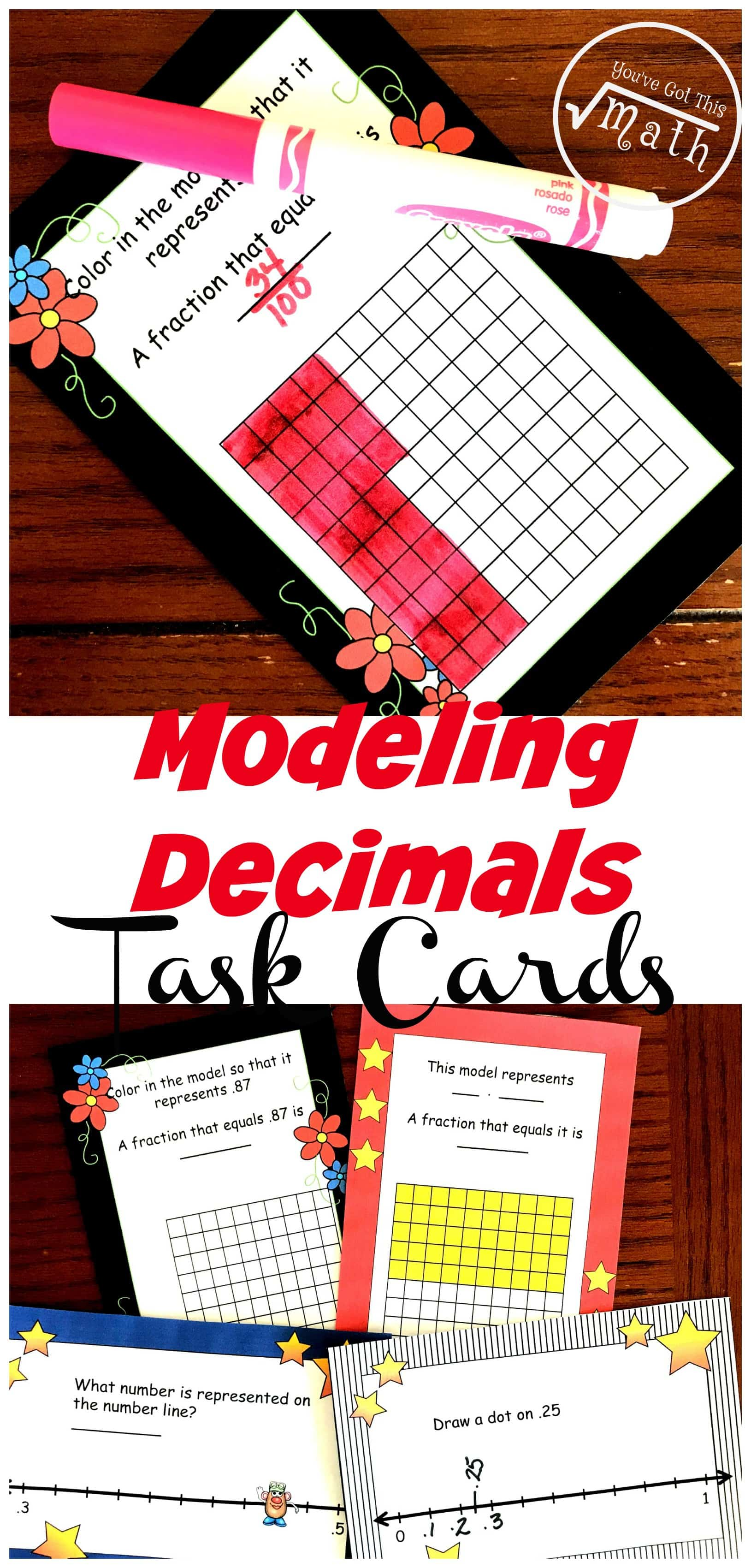 These task cards help children with modeling decimals. One set has children coloring a decimal grid to represent a decimal, while another has children figuring out the decimal represented on a decimal grid. The other two sets have children modeling decimals on number lines.