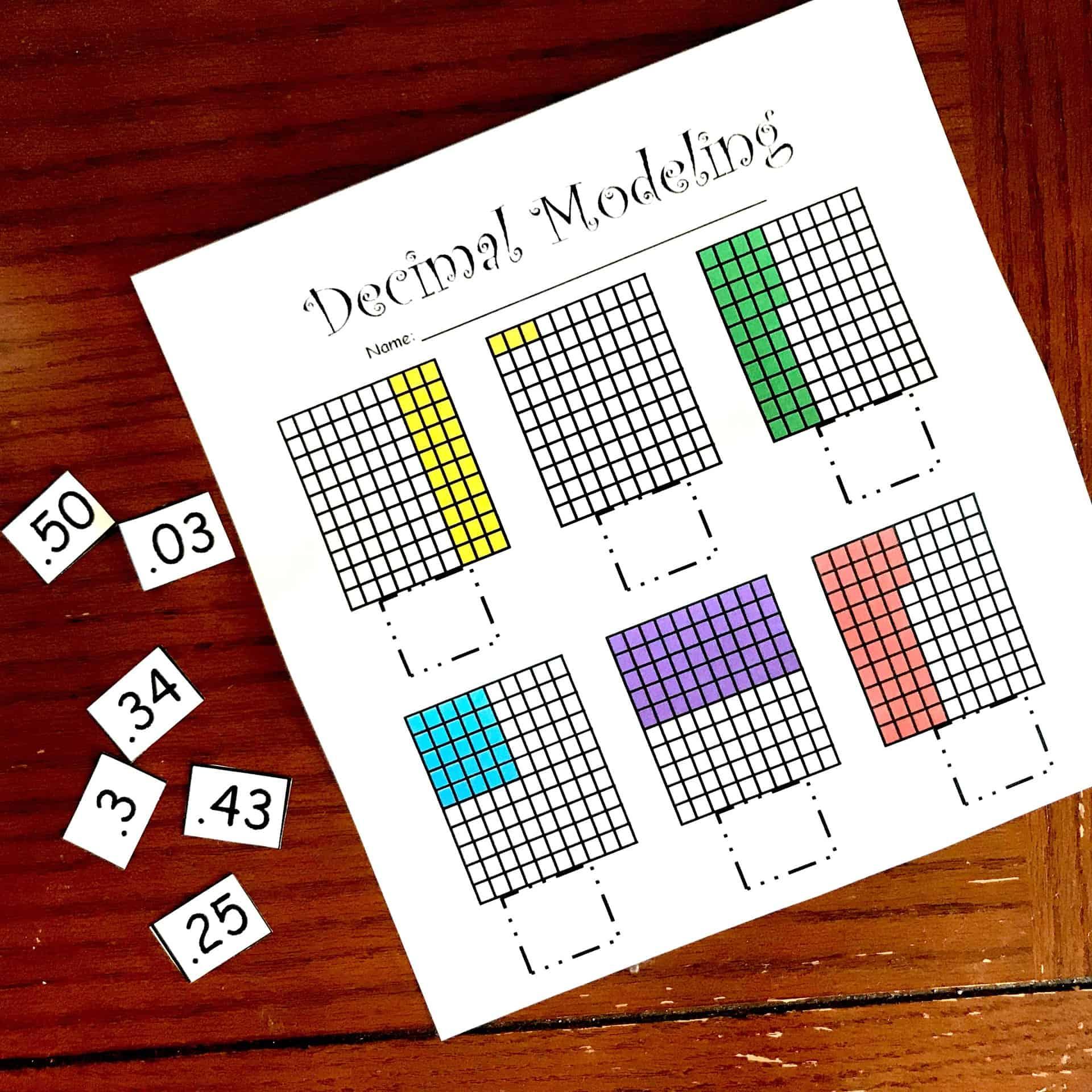 4 Hands-On Decimal Place Value Worksheets [ 2709 x 2709 Pixel ]