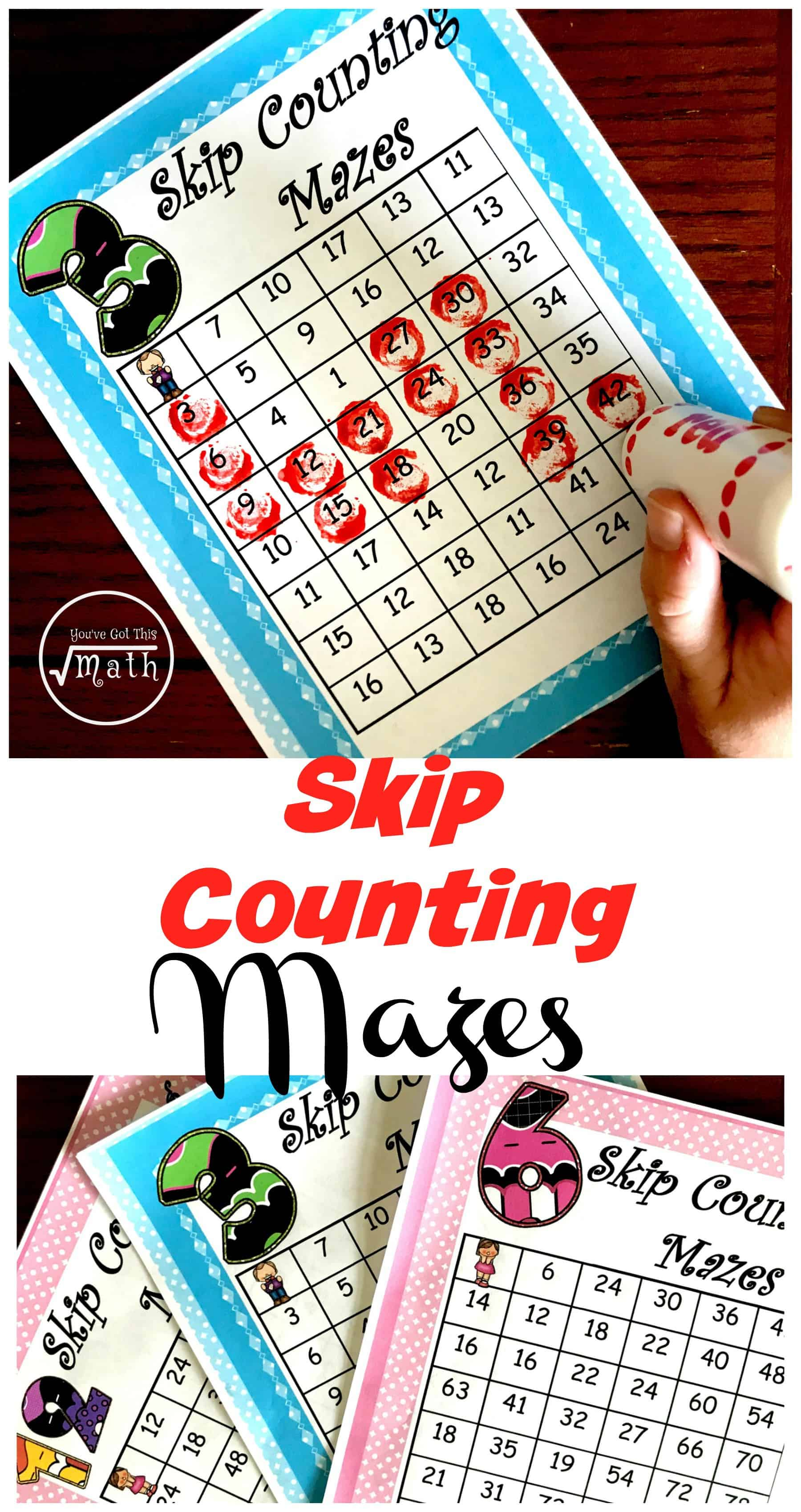 These mazes are a great way to practice skip counting. There is one sheet for each number, two through fifteen. Students have to find fifteen numbers in each maze. This helps them learn their multiplication facts to 15. (2 x 15) (3 x 15) Great for the new CC math memory work.