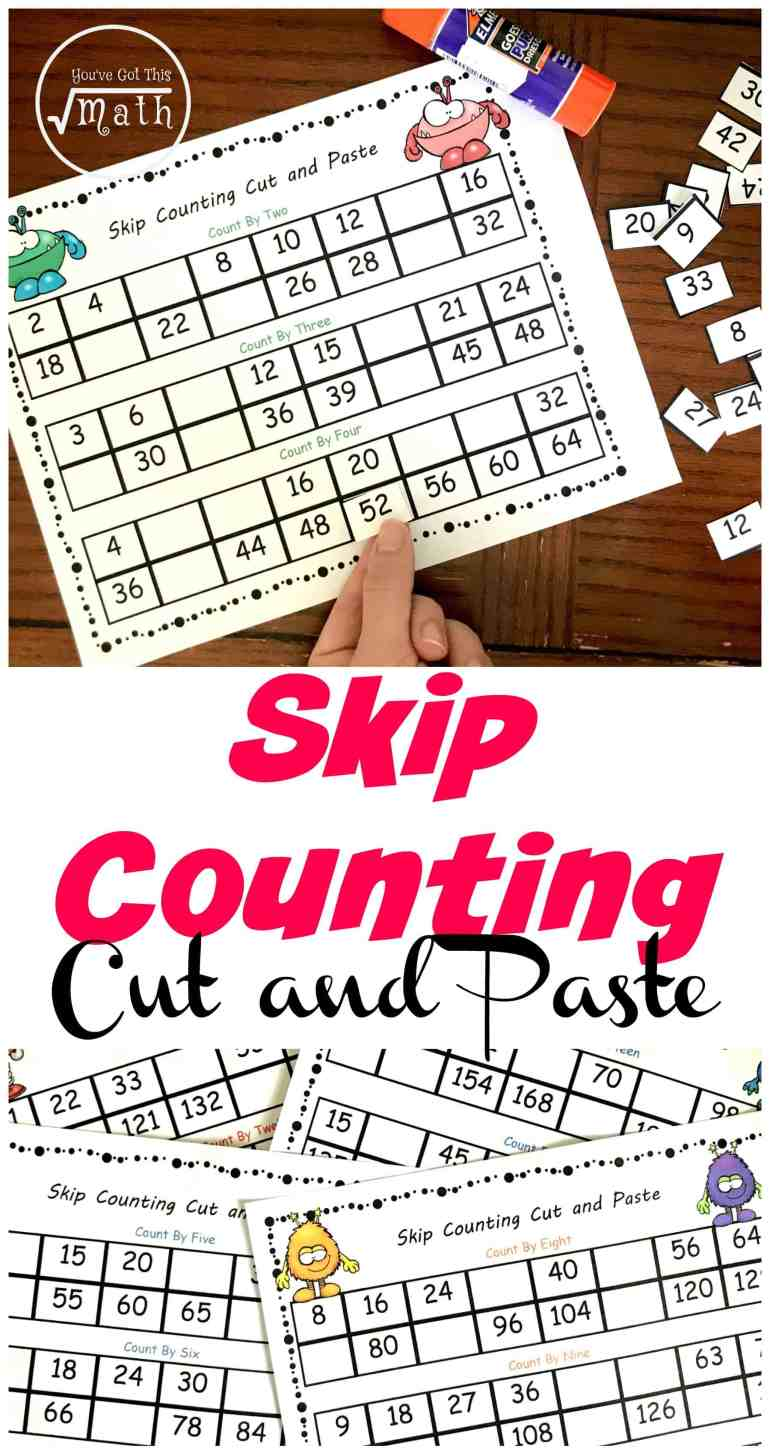 5 Cut and Paste Skip Counting Worksheets Free