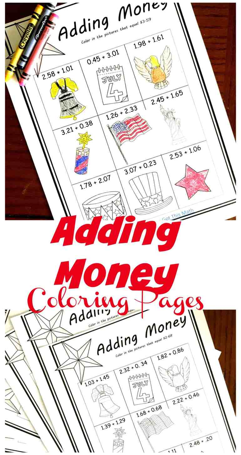 five free coloring adding money worksheets with a patriotic theme. Black Bedroom Furniture Sets. Home Design Ideas