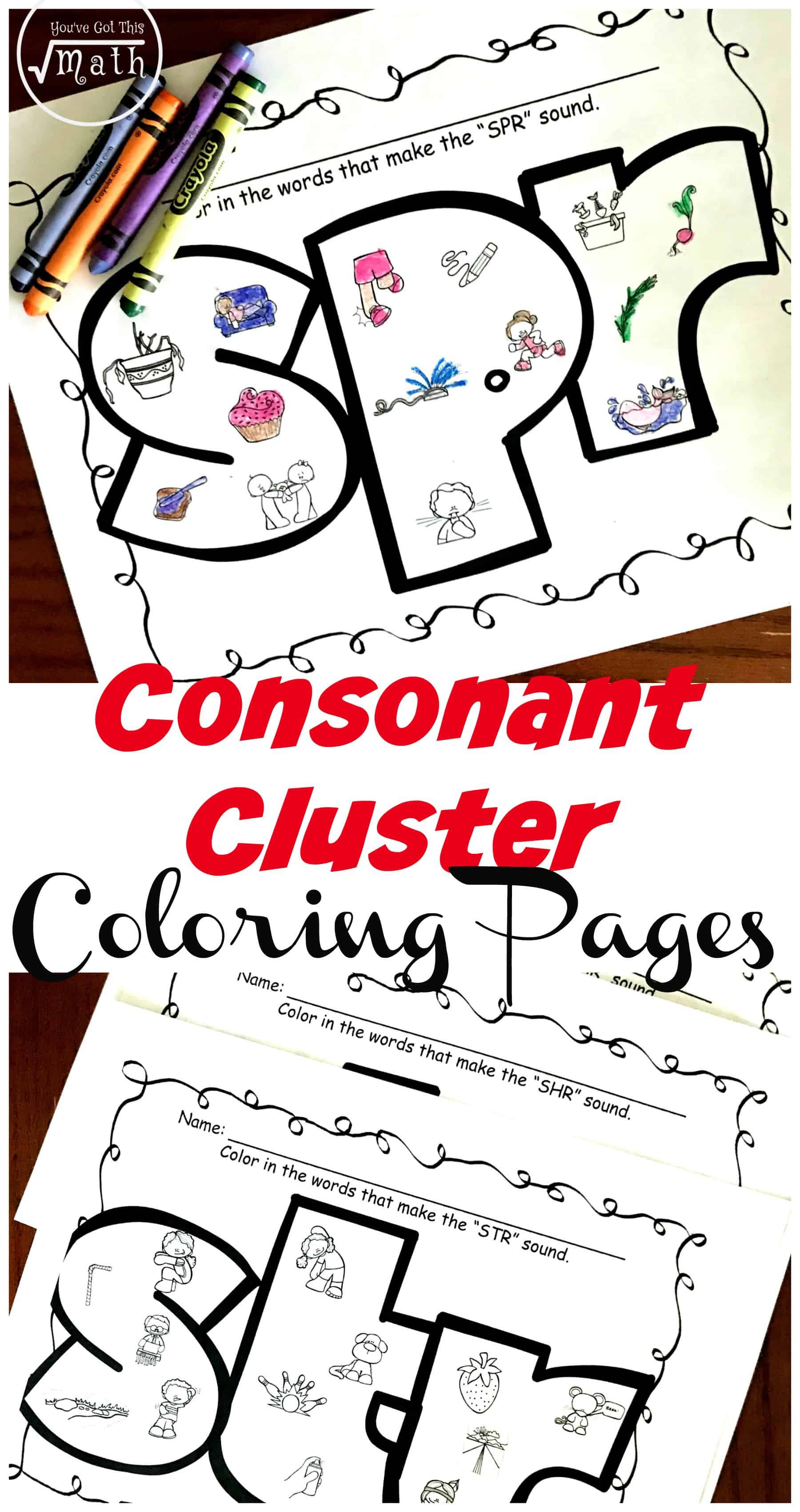 medium resolution of 6 Coloring Consonant Cluster Worksheets For Trigraphs Such As spr \u0026 squ