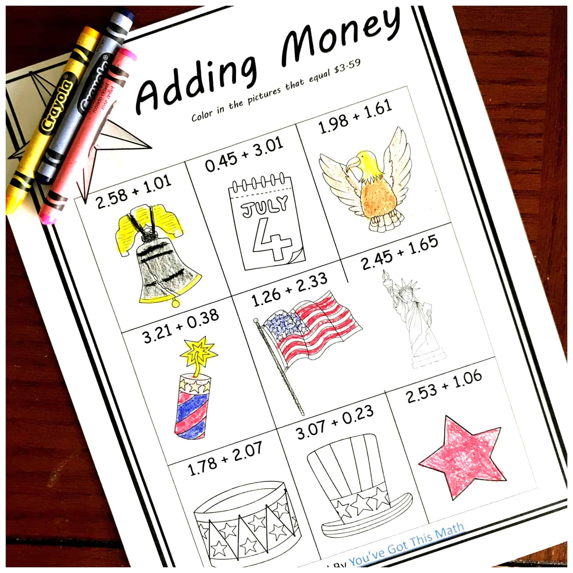 Five FREE Coloring Adding Money Worksheets with a Patriotic Theme [ 2000 x 2000 Pixel ]