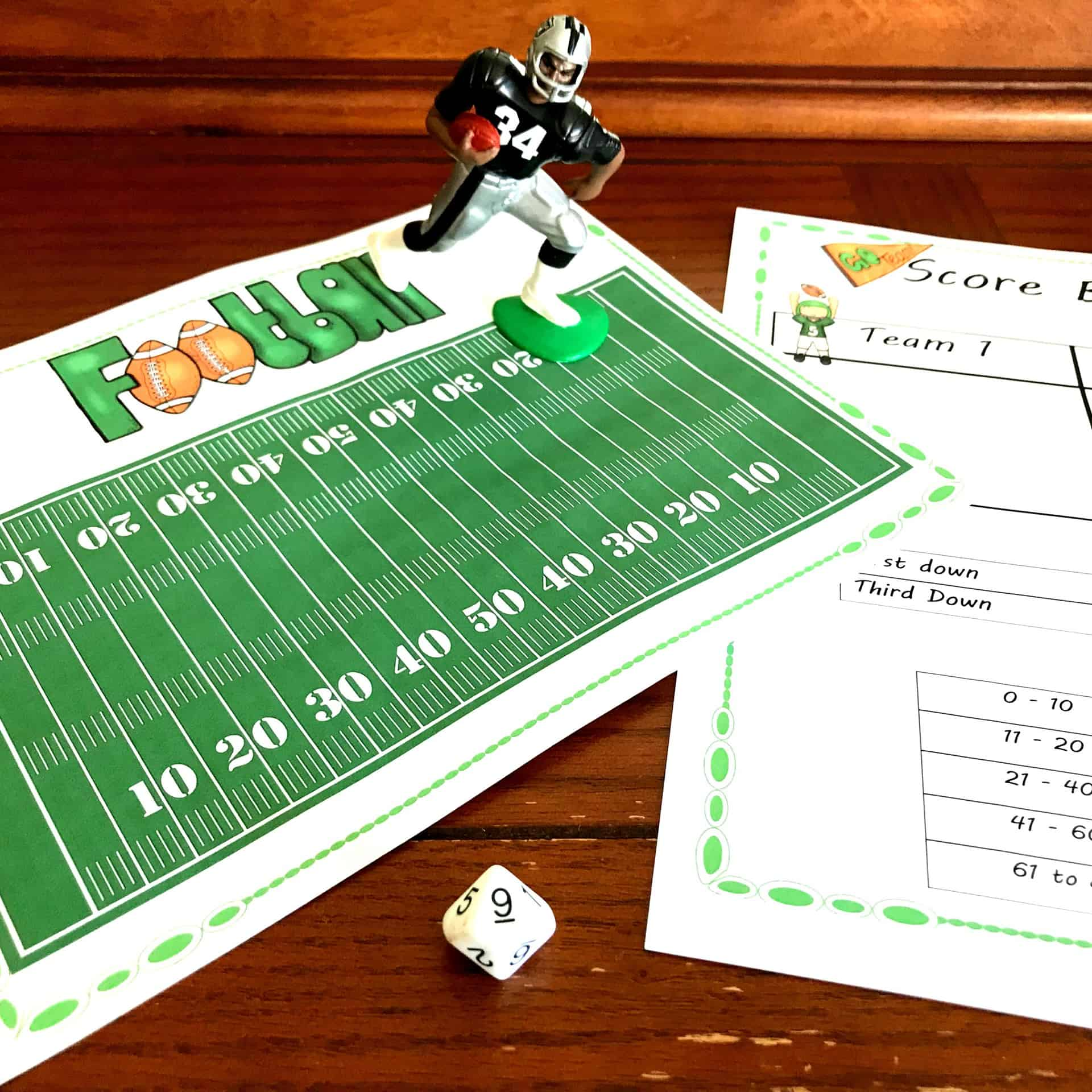 FREE No-Prep Multiplication Facts Practice Game with a Football Theme