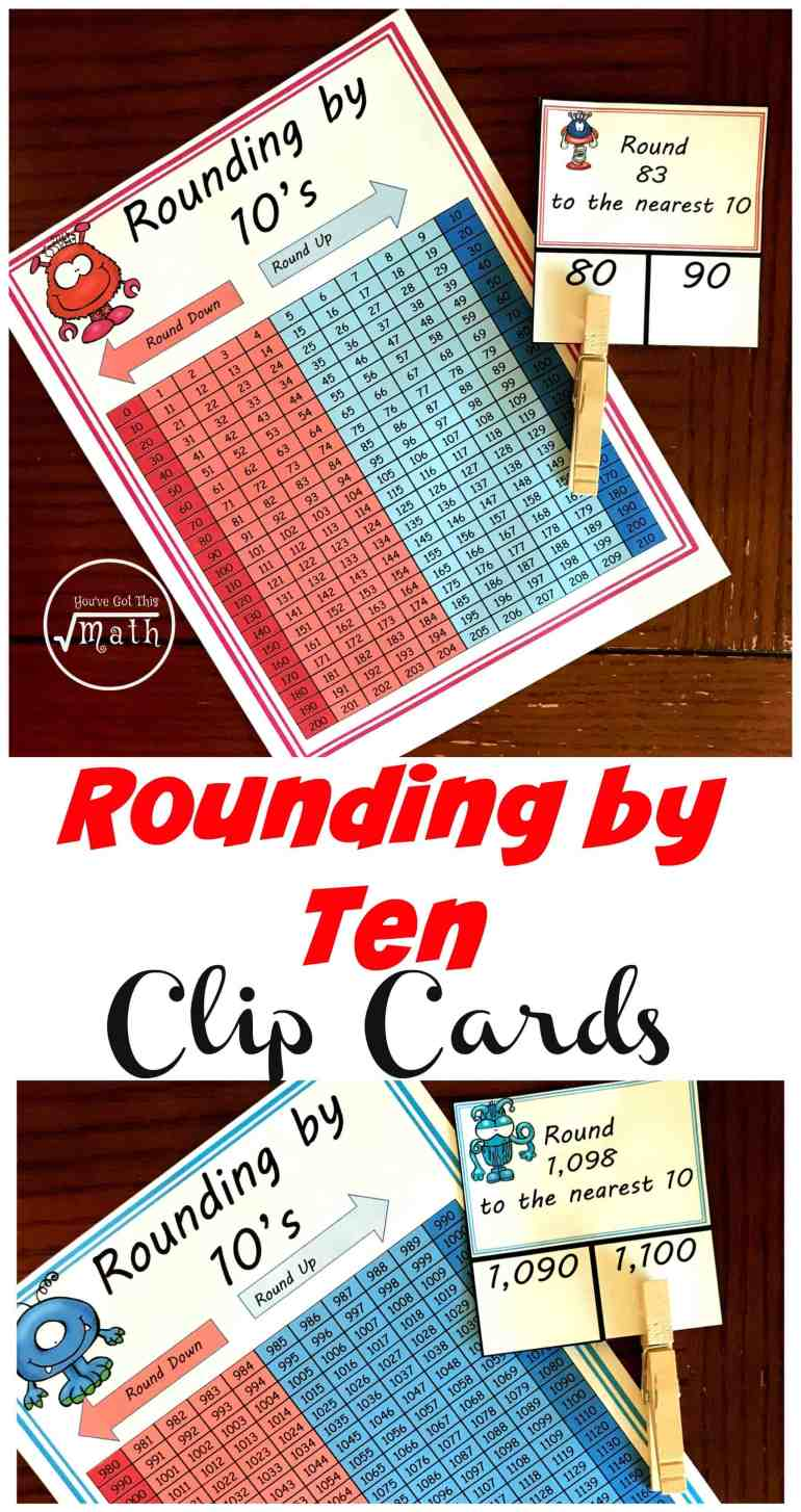 These rounding by 10 clip cards help children practice rounding while using a hundreds chart. Children practice rounding in two-digit numbers (tens) three digit numbers (hundreds) and three-digit numbers (thousands).