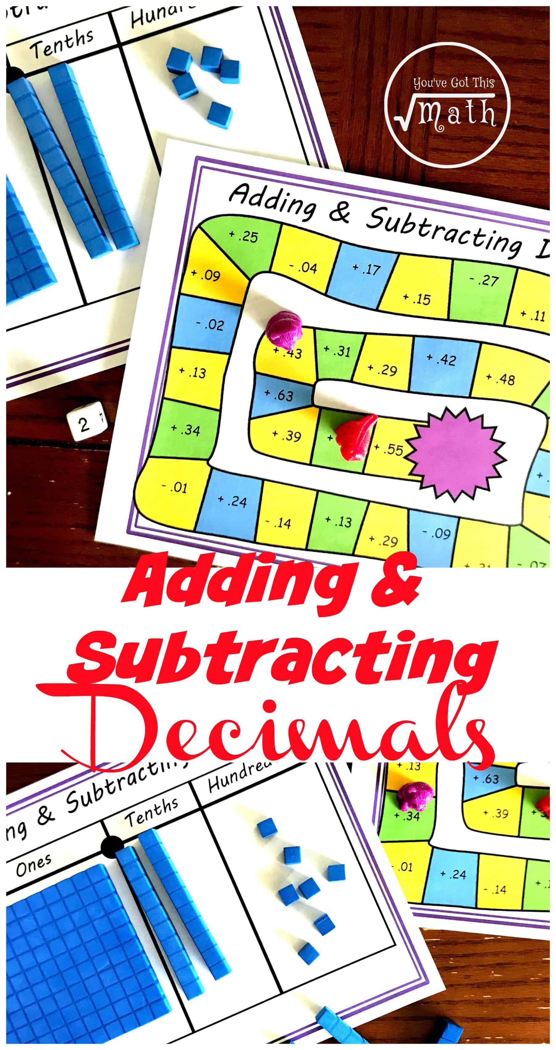 Grab this free adding and subtracting decimal game to allow children more practice at adding and subtracting decimals using base ten blocks.