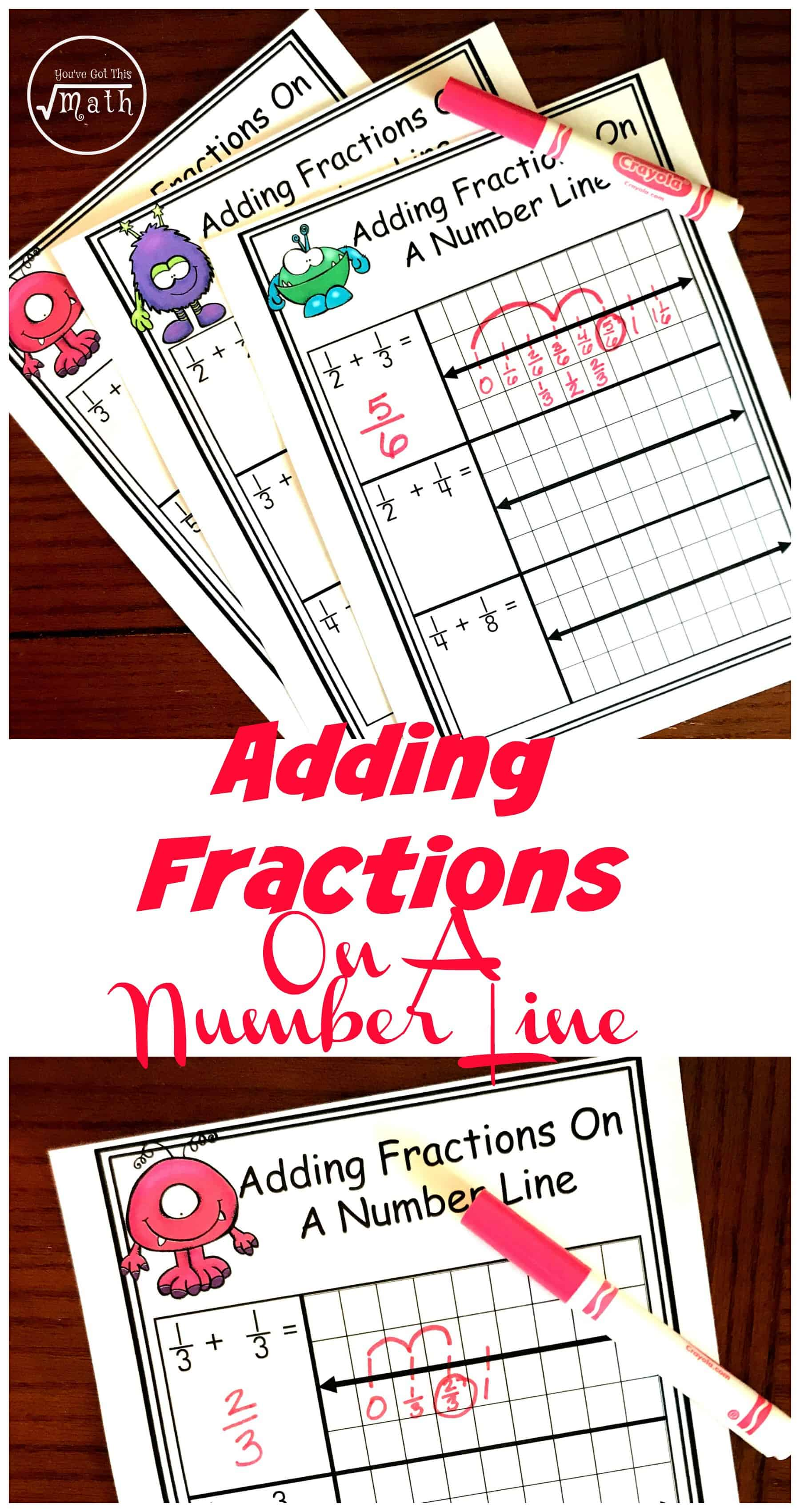 Free Worksheets for Adding Fractions With Unlike Denominators on a Number  Line [ 3400 x 1800 Pixel ]