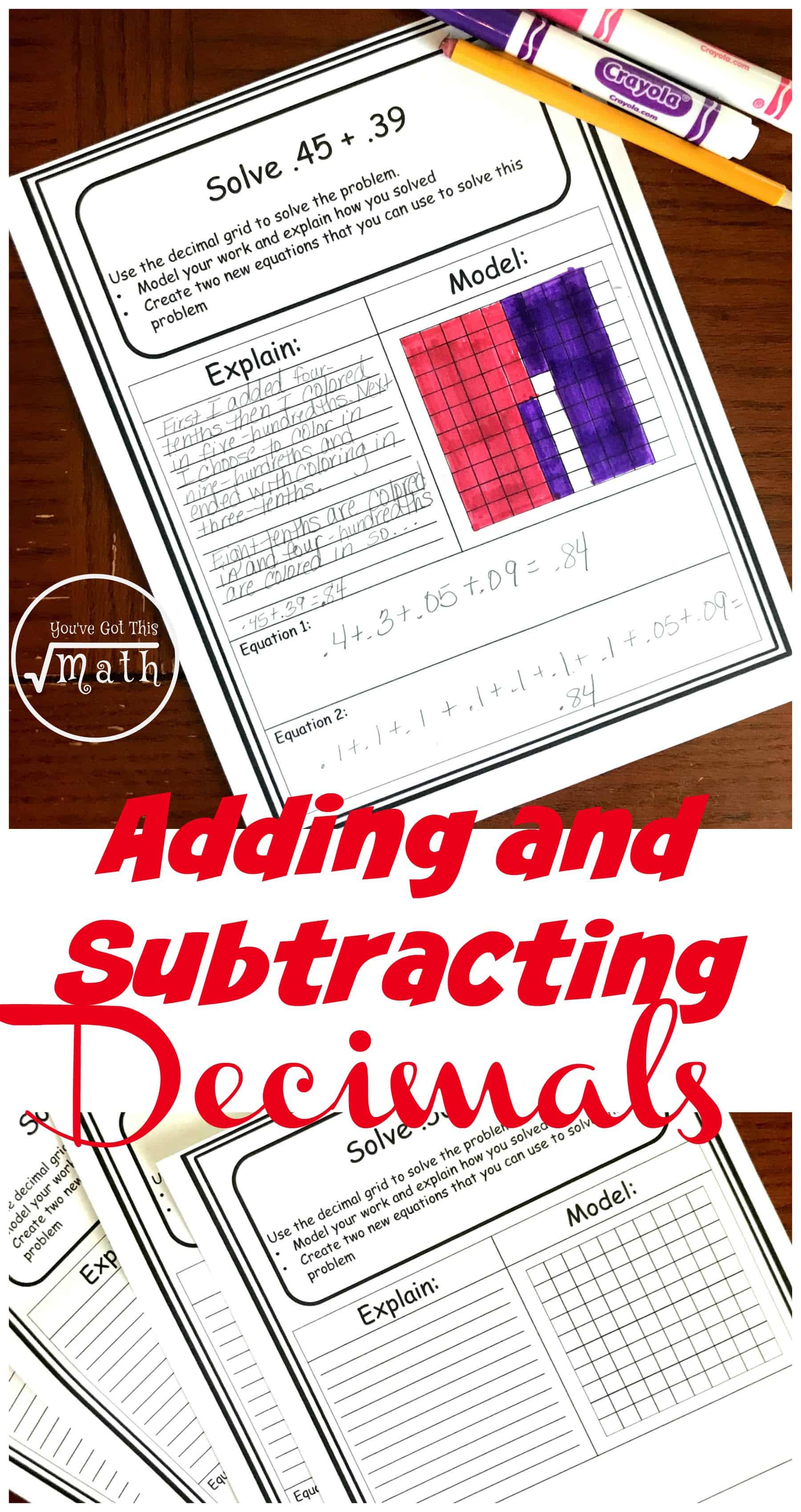 FREE Decimal Addition and Subtraction Worksheets Using Models [ 3400 x 1800 Pixel ]