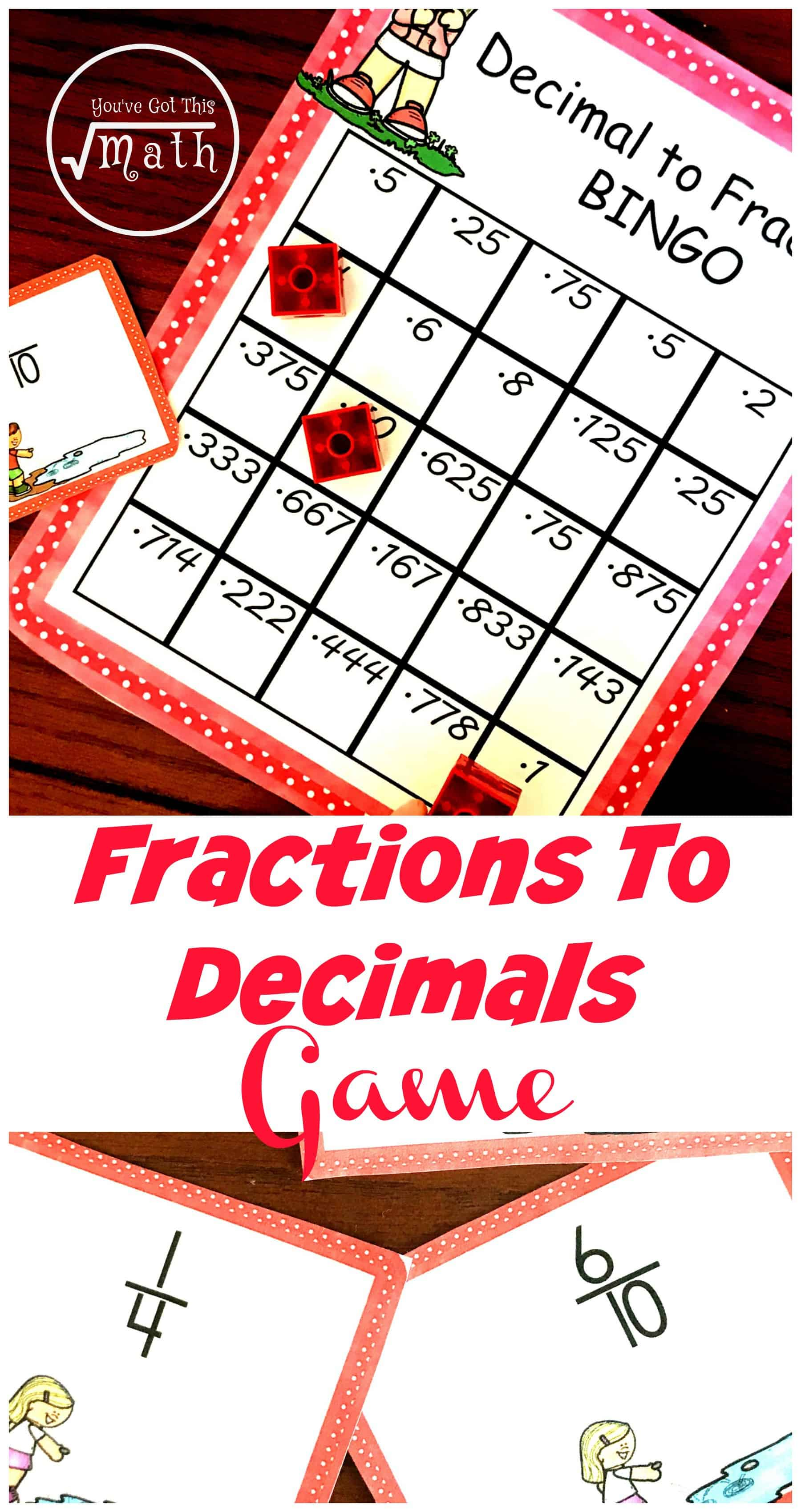 This free fraction to decimal game is a perfect way for children to practice converting fractions like 1/2, 3/4, 4/5, and 5/7 to decimals.