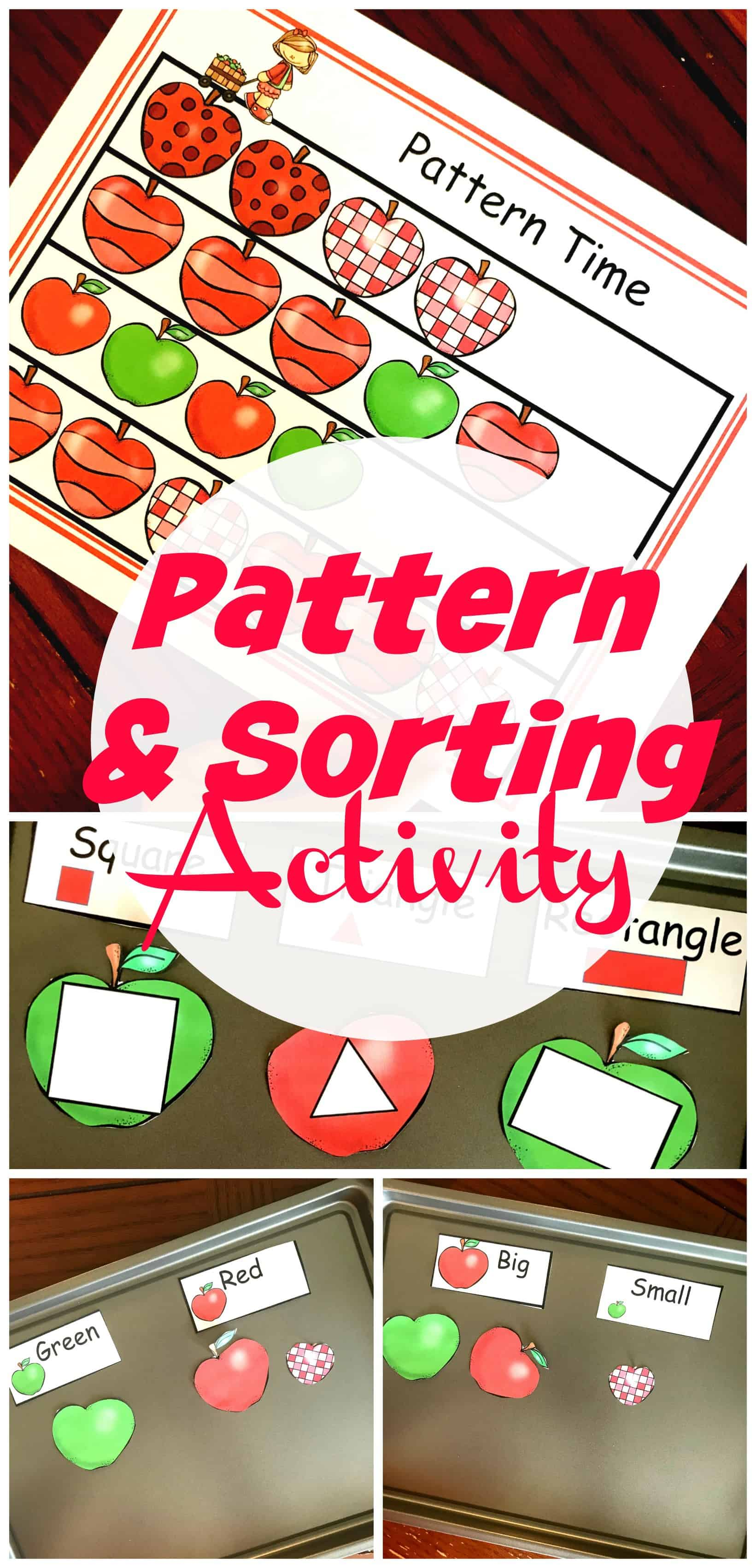 WIth a fun apple theme, this fall preschool pattern activity will help young ones with patterns like ABAB. They will also sort apples based on sizes.