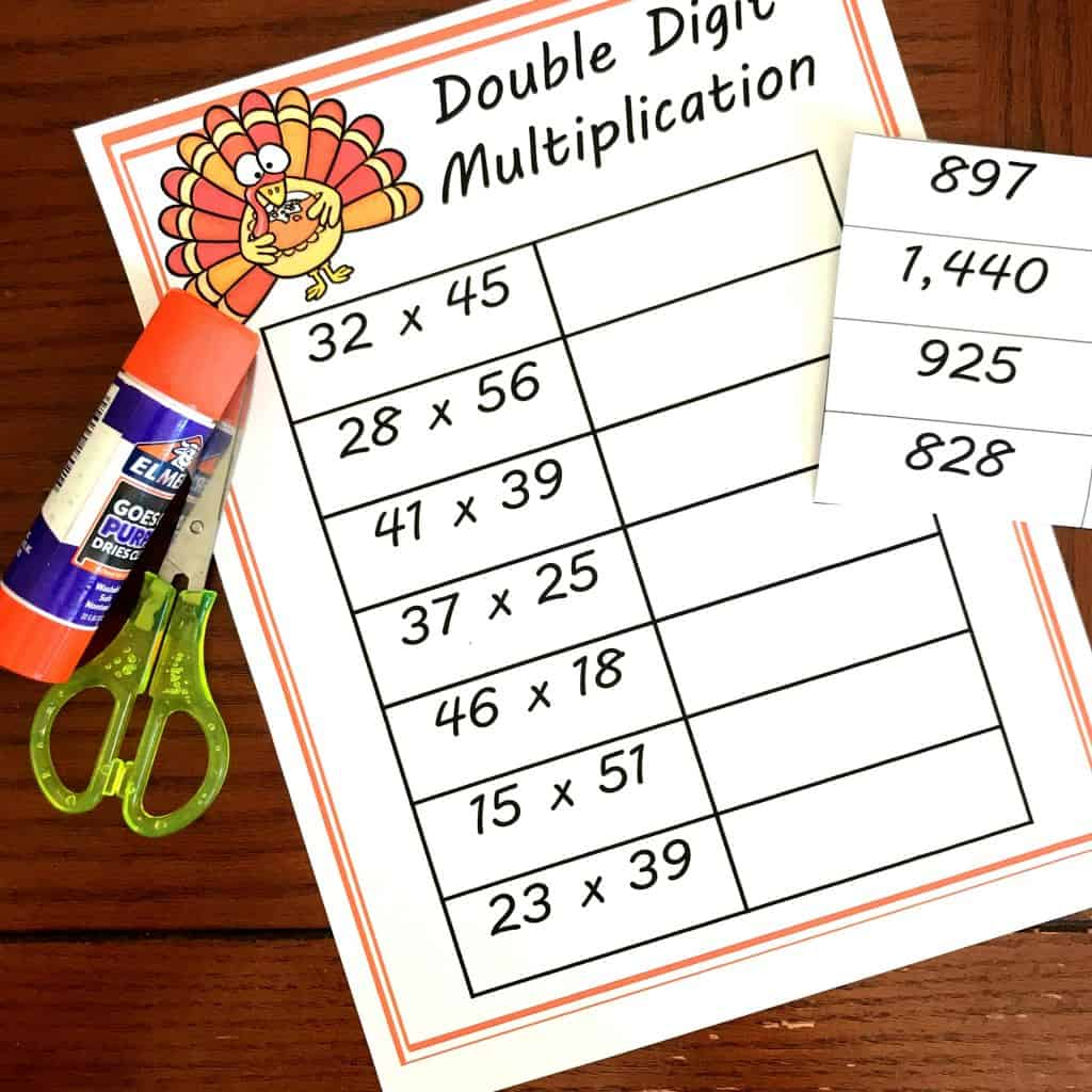 Free Cut And Paste Double Digit Multiplication Worksheets
