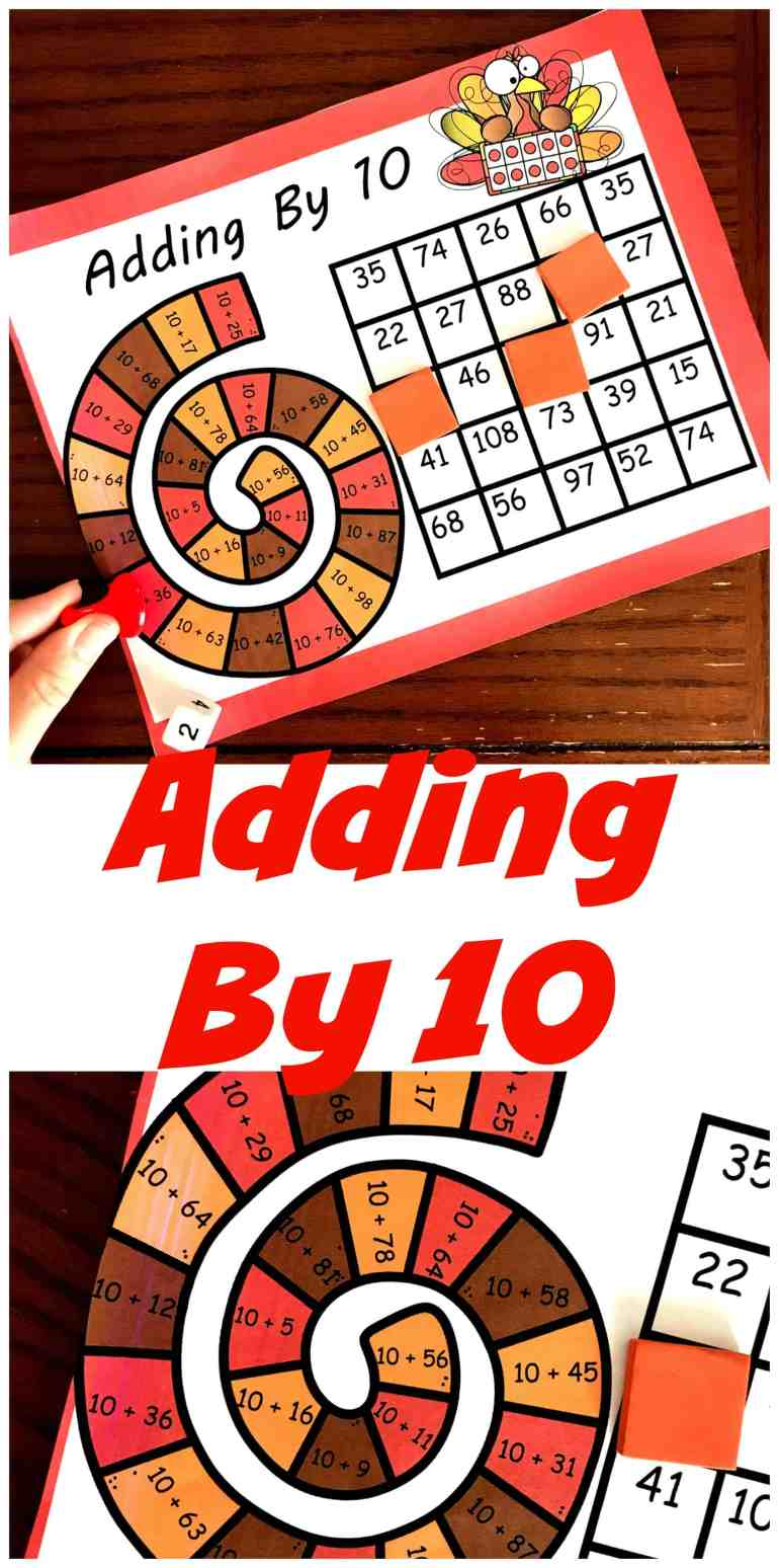 This simple, no-prep game is an easy way to practice adding by 10 with two-digit numbers. Only one page to print and you are ready to go!