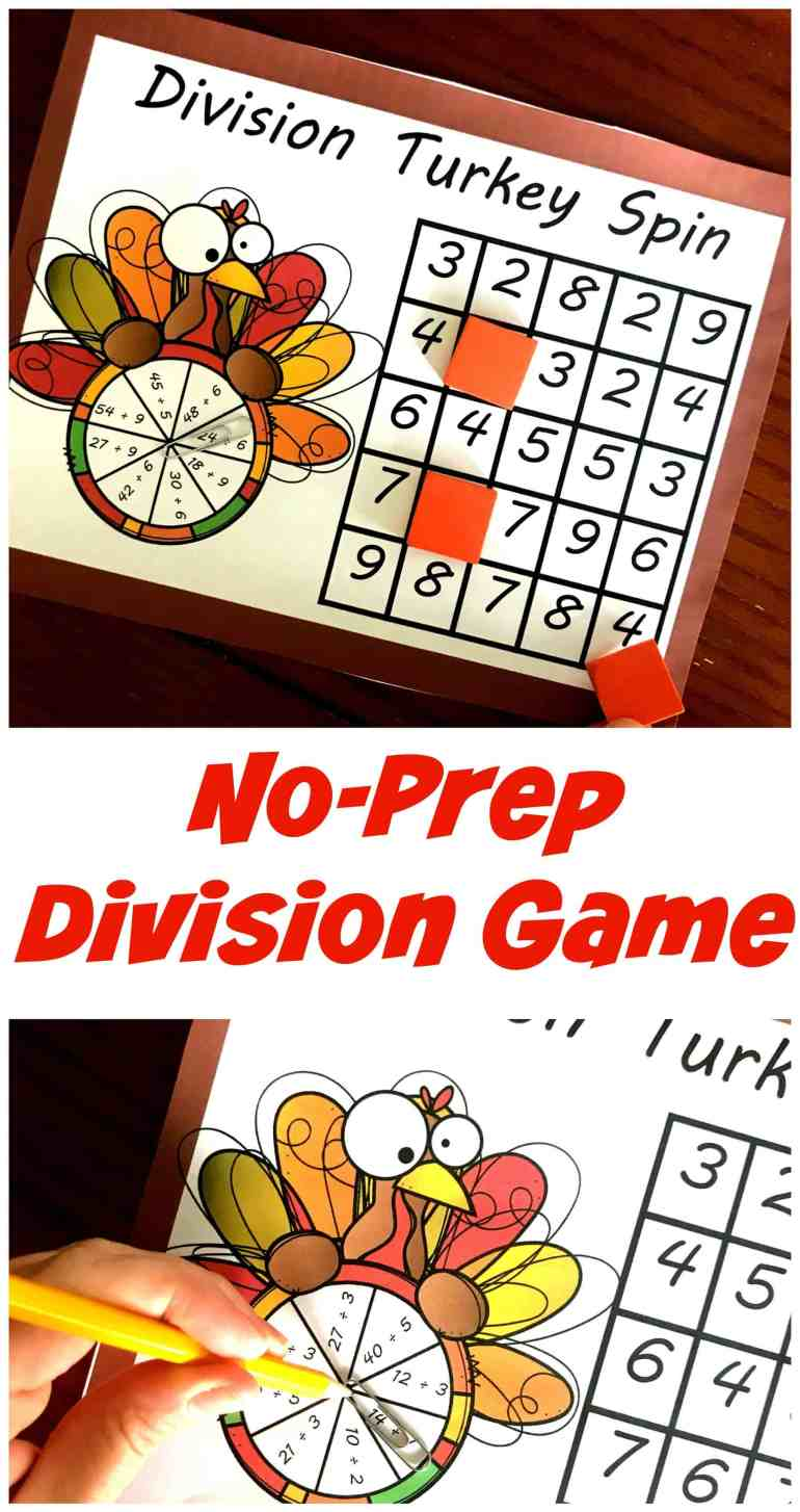 This no-prep FREE and fun division game gets children practicing their division facts. Simply spin, solve, and then cover up the answer.