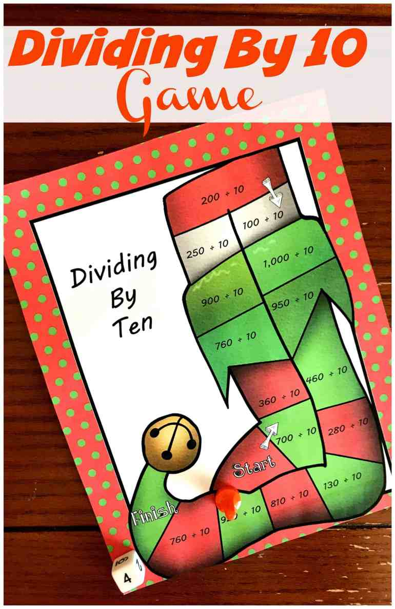 This free no-prep dividing by 10 game is a fun way to practice dividing by 10. Just grab some game pieces and dice and you are ready to play.