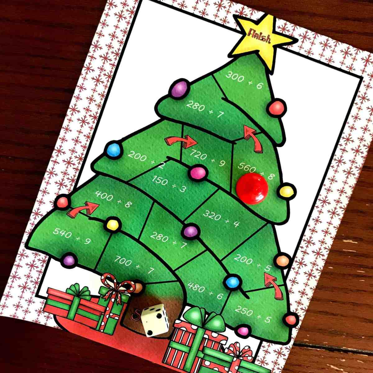 FREE No-Prep Christmas Game For Dividing Multiples of 10 by a Single Digit