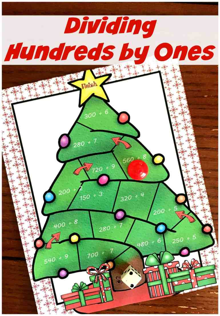 Grab this free no-prep Christmas game and get your kiddos working on dividing multiples of 10 by a single digit  (240 ÷ 8). You just need a die and game pieces and you are ready to play.