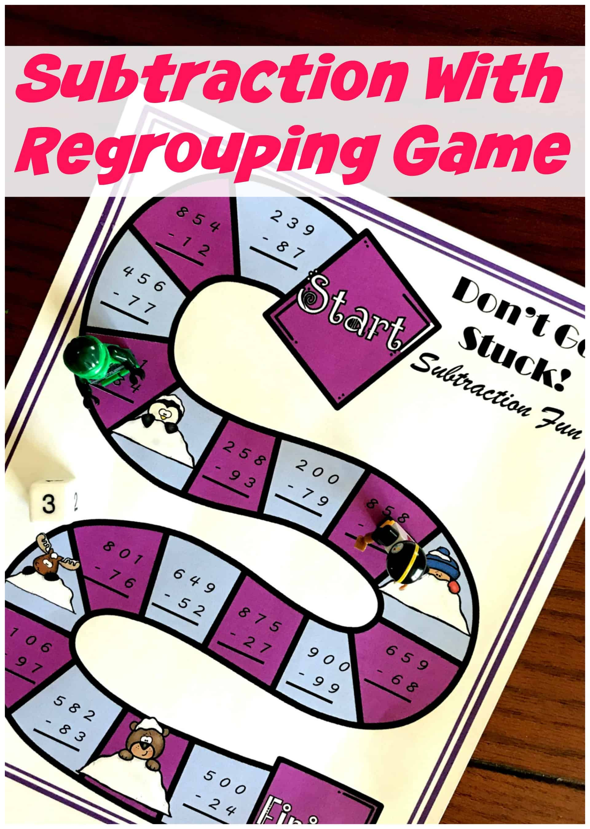 hight resolution of FREE No-Prep Subtraction with Regrouping Game