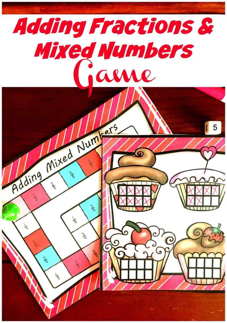 This free adding fractions and mixed number game is a great way to model addition of fractions while having fun! Great game for math centers.