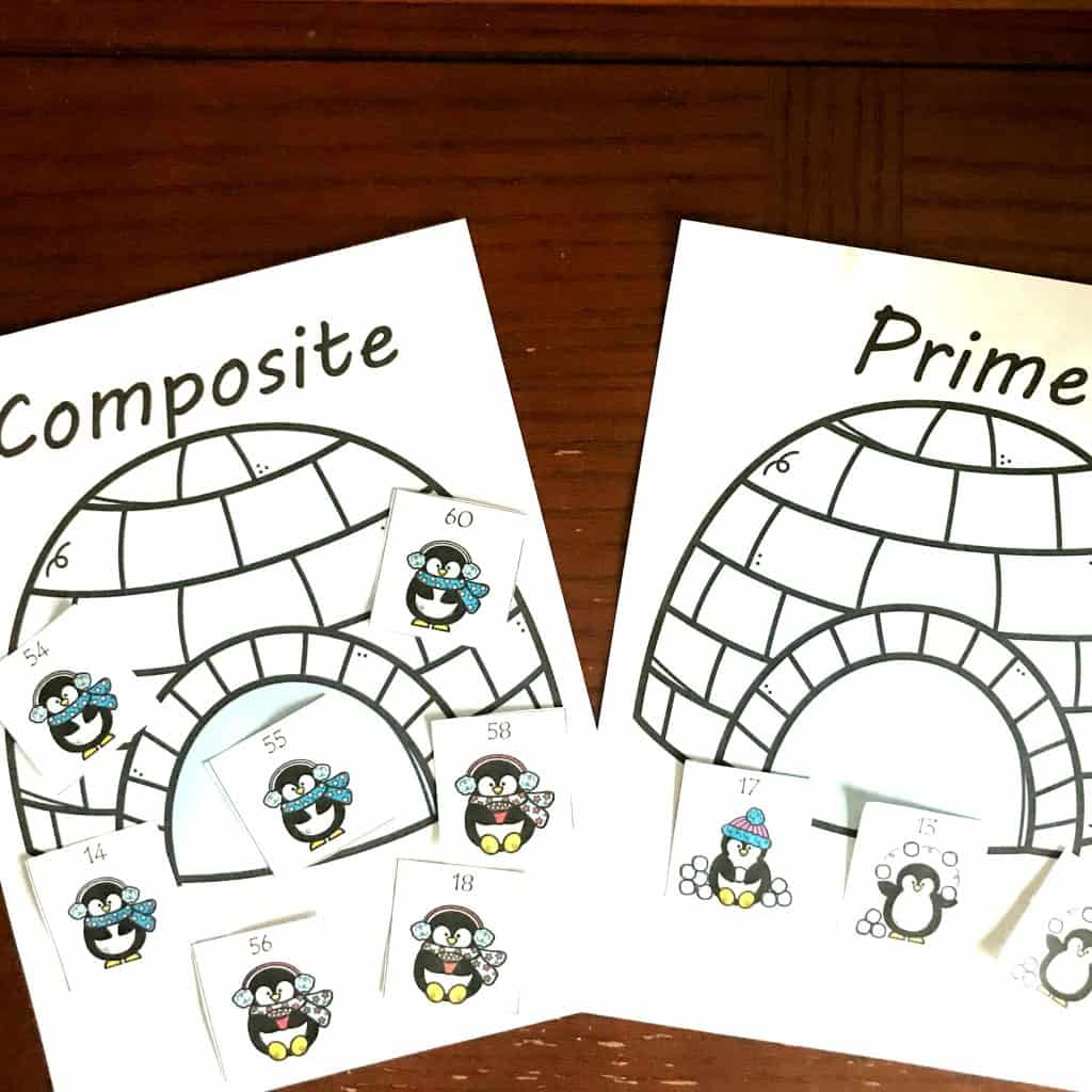 Free Composite And Prime Numbers Activity Wtih A Winter Theme