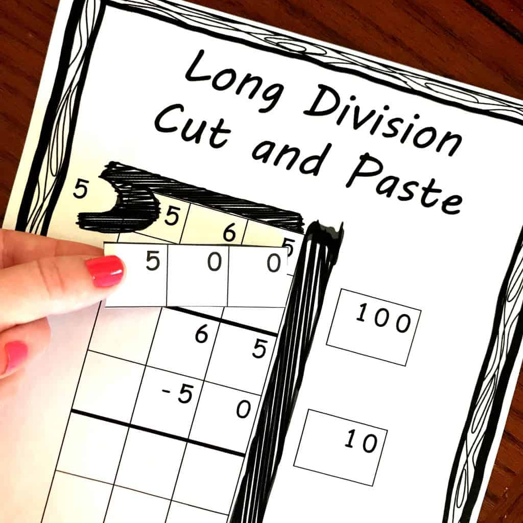 Free Divide Using Partial Quotients Cut And Paste Activity
