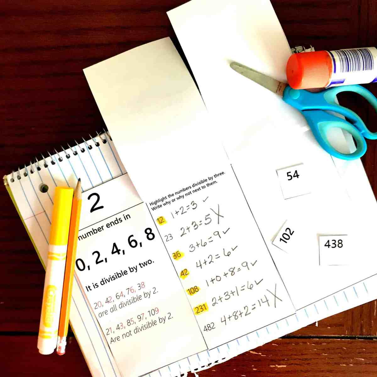 FREE Hands- On Divisibility Rules Interactive Notebook