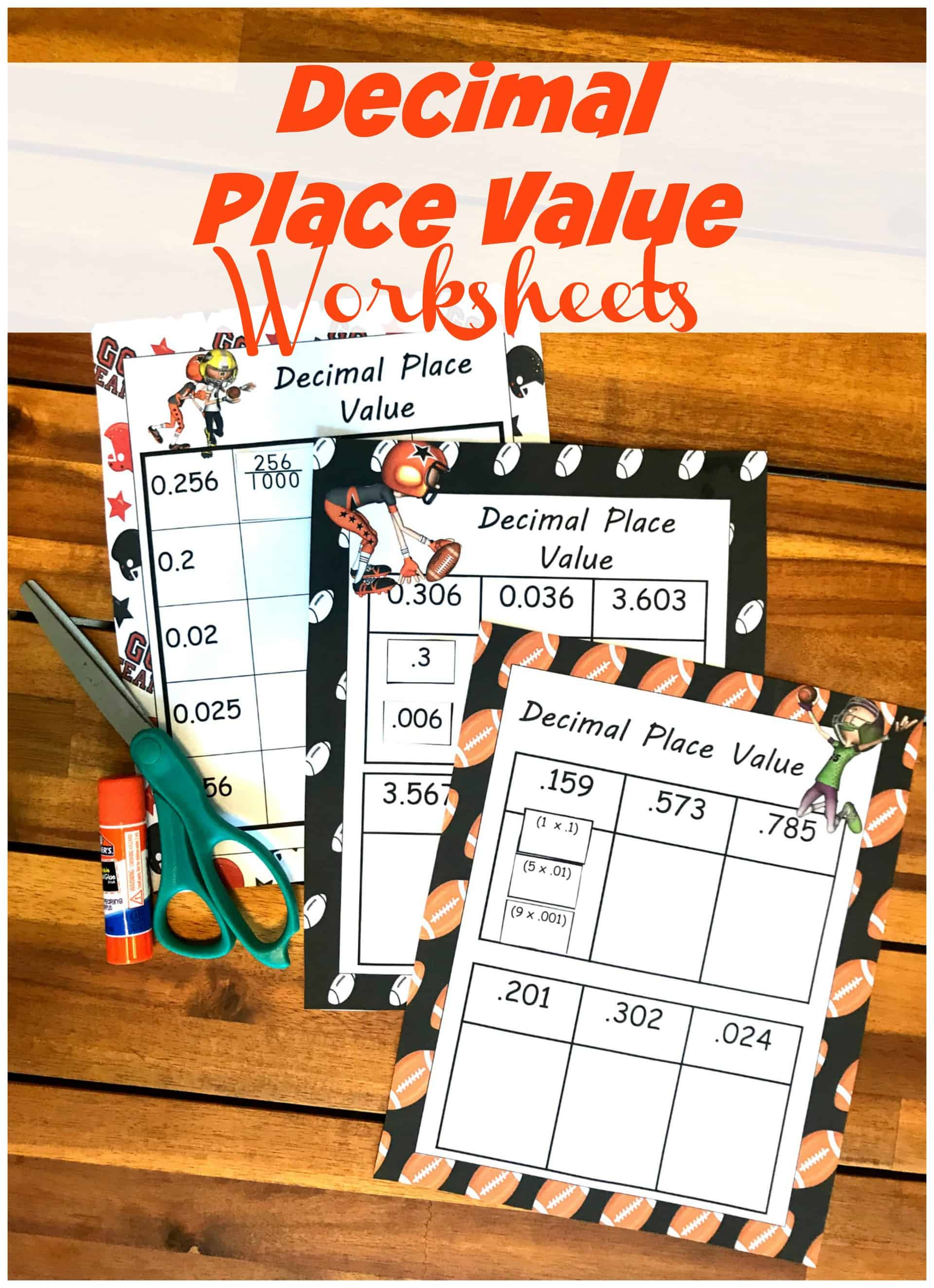 Free Cut and Paste Decimal Place Value Worksheets (Expanded Form) [ 3181 x 2307 Pixel ]