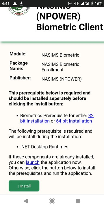Npower biometric fingerprint