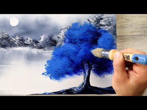Mavi Ağaç Odaklı Akrilik Manzara Tablosu