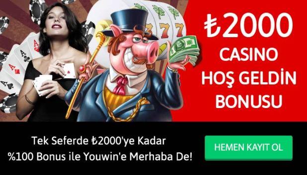 Youwin casino hoş geldin bonusu.