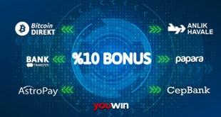 Youwin'den yatırımlarınıza bonus.