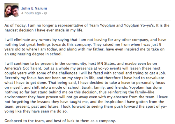 John Narum Resigns From YoYoJam