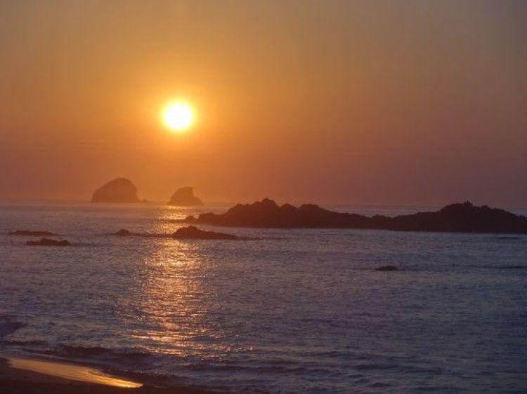 Voyage au Mexique: Couché de soleil magnifique sur la plage de Mazunte