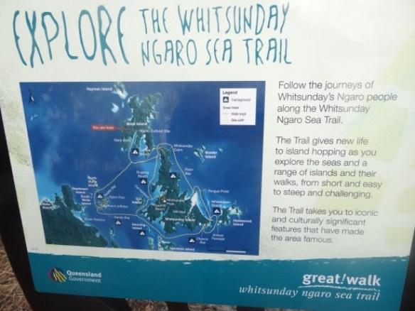 Autralie- Queensland: Pour comprendre l'archipel des Whitsunday, rien de mieux que cette carte... Donc nous allons traverse 3 iles avec le bateau...