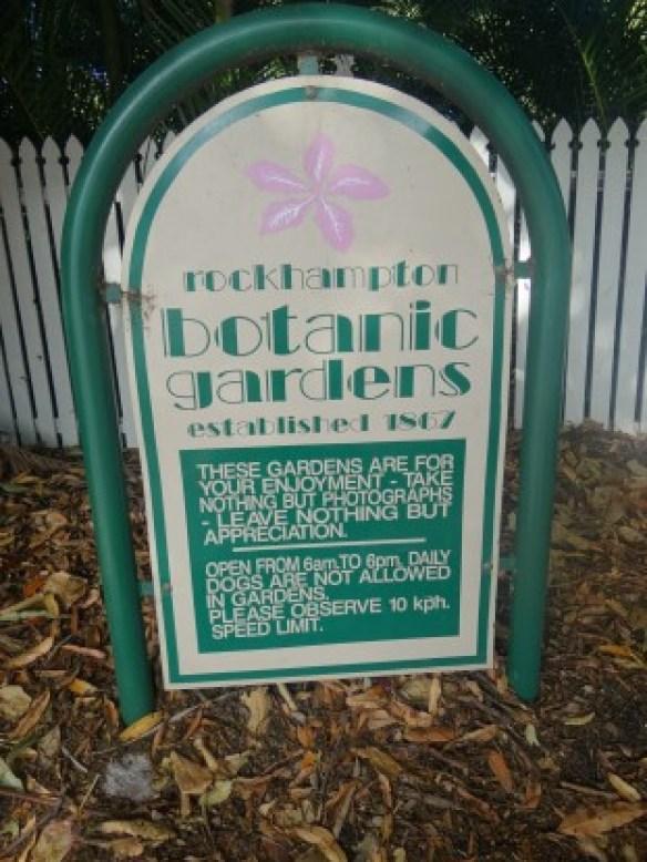 Australie- Rockampton: Entré du Jardin Botanique.
