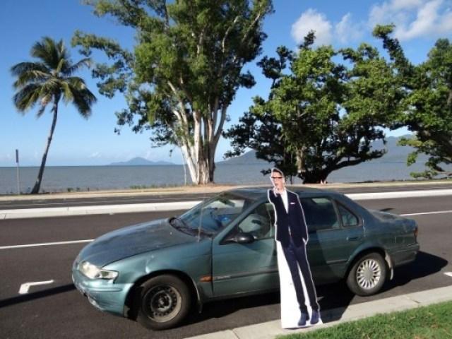 Australie-Queensland: La veille de mon depart pour mon anniversaire Richard un ami de Bowen m'avait offert l'icone de Target. Un mec qui m'agasse. Sympa comme cadeaux, cela m'a tellement fait rire que je l'ai amene avec moi...