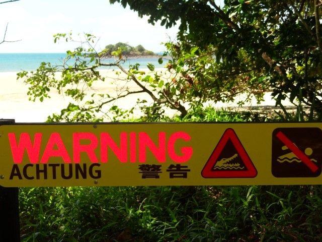 Australie- Queensland: Cap Tribulation: C'est quand meme ecrit en gros: ATTENTION CROCODILES!!!